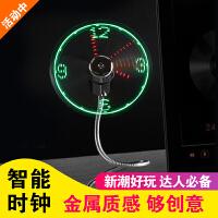 USB迷你时钟小电风扇带闪字LED时间显示DIY发光创意改字