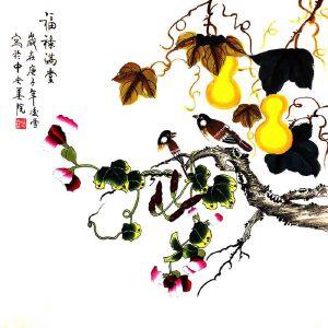 北京市美术家协会会员,北京市著名工笔画画家凌雪(福禄满堂)