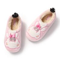 儿童保暖棉拖鞋男孩女孩可爱包跟厚底棉鞋秋冬季