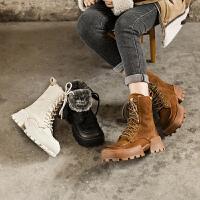 ��菲���D2020冬季新款加�q加厚女靴潮流百搭真皮�R丁靴女皮毛一�w雪地靴女903-15YML