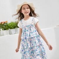 【2件3折:79】巴帝巴帝童装2019春夏新款女童套装柔美印花 两件套设计