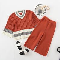 儿童宝宝欧美时尚纯棉线毛衣毛线裤套装女童针织两件套