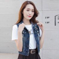 青少年夏装少女韩版短款牛仔马甲女休闲无袖破洞百搭背心外套学生 图片蓝色马甲