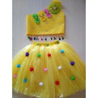 儿童演出服装无纺布塑料袋手工制作衣服时装走秀子装公主裙 黄色 130cm