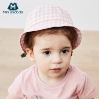 迷你巴拉巴拉婴儿帽子2020夏季防风可爱超萌格子百搭宝宝软檐帽子