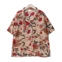 复古花朵印花度假衬衣夏季新款韩版西装领短袖碎花雪纺衬衫上衣女 杏色 轻薄款 均码