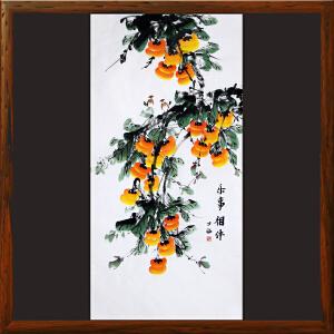 《乐事相伴》R5251  何万福 竖幅手绘柿子