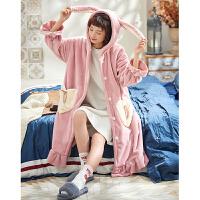 睡袍女冬季珊瑚绒法兰绒秋冬款睡衣睡裙加厚加长款可爱学生家居服