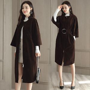 RANJU然聚2018秋季女装新品新款时尚修身显瘦九分袖中长款外套风衣连衣裙女