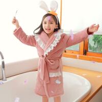 女童睡袍珊瑚绒秋冬款儿童绒厚款睡衣冬季三层夹棉亲子浴袍母女