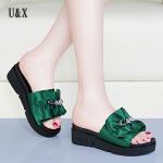 UX女鞋厚底拖鞋女2019夏季新款增高坡跟外出时尚室外网红百搭港风凉拖鞋