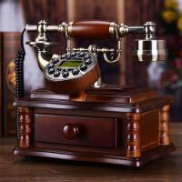 实木欧式仿古电话机复古时尚创意个性电话机家用固定有绳电话座机