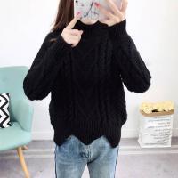 高领毛衣女套头秋冬装韩版宽松打底针织衫学生粗毛线外套加厚
