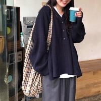 韩版纯色V领毛衣女学生秋冬慵懒风宽松针织打底衫百搭加厚上衣潮