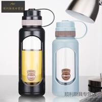 男学生防漏运动水杯耐热便携玻璃杯大容量1000ml健身泡茶随手杯子