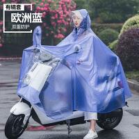 雨衣电瓶车电动摩托骑行自行车雨披加大加厚男女时尚单人 有后视镜套-欧洲蓝 pvc X