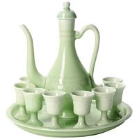龙泉青瓷酒壶酒杯陶瓷仿古酒具套装中式家用分酒壶复古典温酒白酒