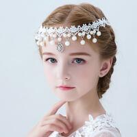 儿童发饰额头链女孩韩式蕾丝公主头饰花童吊坠仿珍珠饰品