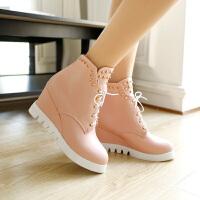 彼艾2017秋冬新款高帮女鞋欧美厚底内增高坡跟系带铆钉及踝靴短靴女靴子