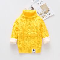 儿童毛衣加厚冬保暖中长款针织衫套头男女童宝宝高领加绒打底上衣