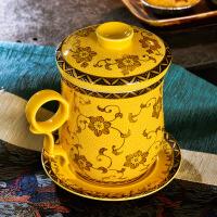 景德�陶瓷茶杯�^�V泡茶杯陶瓷�S金�K套�b���w��人�k公���h杯茶具 �D片色
