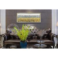 客厅抽象油画手绘现代有框装饰画卧室床头画样板房满载金银 香槟银色画框