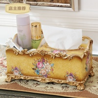 家用新款欧式树脂纸巾盒家居装饰品摆件 高档创意多功能纸巾盒收纳盒SN2123 奢华黄金款