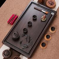 整块黑檀木茶盘实木茶台长方形简约家用红木茶海功夫茶具如鱼得水 如鱼得水:65*35cm