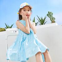 【夏3件3折:65】巴帝巴帝童装女童外套2019春夏新款时尚无袖连衣裙