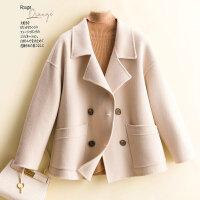 新款小个子短款宽松毛呢外套呢大衣西装领双排扣双面羊绒大衣女