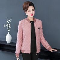 妈妈装冬装轻薄短款小棉衣中年女大码中老年女装秋装夹克外套 XL 建议85--105斤