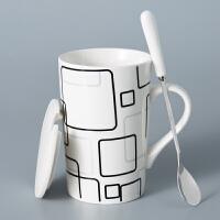 创意陶瓷杯子简约情侣水杯大容量马克杯带盖勺个性咖啡杯喝水茶杯