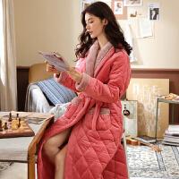 冬天睡袍女冬加厚加长款珊瑚绒夹棉睡衣女士甜美加绒保暖棉袄浴袍