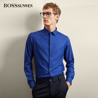 BOSSSUNWEN衬衫男长袖修身商务正装职业工作上班秋季西装衬衣蓝色