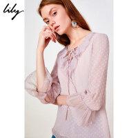 Lily2019夏新款女装荷叶边V领复古气质宽松圆点套头衫衬衫8913