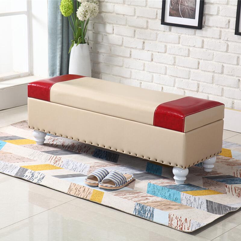 收纳凳储物凳 美式换凳储物凳长条凳沙发床尾凳卧室实木脚踏穿皮凳服装店 1