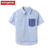 巴拉巴拉balabala梦多多童装儿童衬衫2019新款夏季中大童男童条纹衬衣短袖上衣
