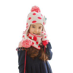 韩国KK树女童帽子围巾手套三件套秋冬新款保暖加绒毛线帽护耳帽潮