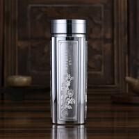 送长辈礼物S999纯银内胆水杯雪花银高档不锈钢保温杯商务男女士泡茶银杯子定制