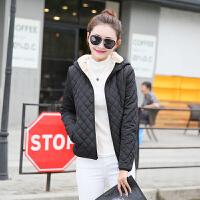 修身冬季棉衣女短款轻薄小棉袄加绒加厚女装仿羊羔毛外套 格子棉衣 黑色