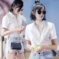 20180914203911889同款白衬衫女2018夏装韩版职业修身显瘦短袖正装衬衣OL女装 白色 短袖方领 008