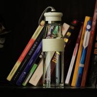天喜玻璃杯 便携加厚底透明水瓶车载男女士创意水杯带盖密封杯子