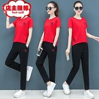 运动套装女夏季2019新款短袖长裤两件套韩版时尚大码显瘦休闲套装