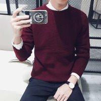 201秋冬季套头纯色低领半高领毛衣男韩版宽松修身针织衫长袖