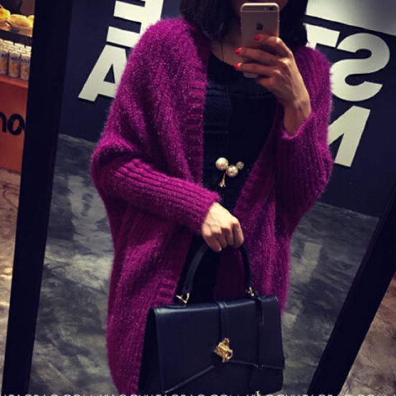 秋冬季韩版蝙蝠衫宽松毛衣中长款大码开衫针织披肩外套上衣女