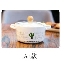 仙人掌图案手绘风格学生泡面碗双耳防烫陶瓷碗