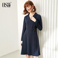 【2.5折到手价:188】OSA欧莎V领连衣裙收腰显瘦春装2020年新款女流行中长款赫本风裙子
