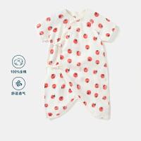 迷你巴拉巴拉婴儿全棉蝴蝶衣2020夏款透气柔软水果印花哈衣