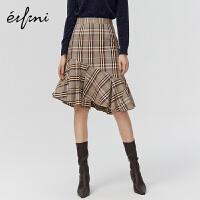 伊芙丽新款冬装韩版高腰不规则半身裙1AA240401