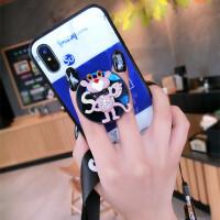 苹果X手机壳潮牌新款iphone7plus玻璃壳卡通8抖音网红支架6女挂绳